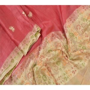 Sanskriti Vintage Dupatta Long Stole Pure Silk Red Hand Beaded Woven Scarves