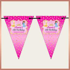 Personalised PRINCESS Wall BUNTING Banner Kids Boys Girls Birthday Party