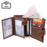 Genuine Leather Men Trifold Wallets RFID Blocking Coin Pocket Credit Card Holder