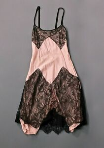 VTG Women's 20s 30s Pink & Black Nightgown / Slip Sz XXS 1920s 1930s Lingerie