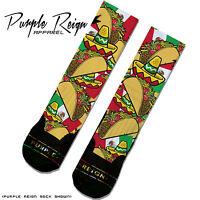 """Taco"" Custom Premium Socks (ALL SZ) cinco de mayo Mexico yeezy"