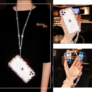 Bling Glitter Sparkle Side Diamond Case w/Rope For iPhone 12 11 Pro X MAX XR 7 8