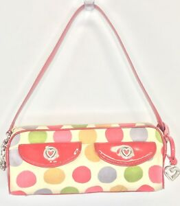 Brighton Baguette Satchel Purse Handbag Red Trim Multi Color Canvas Polka Dot