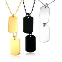 Fashion Double Dog Tag Pendant Women Men Necklace Link Stainless Steel Xmas Gift