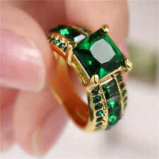 Fashion Women's Green Emerald Cut 18K Yellow Gold Filled Anniversary Ring Size 6