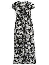 Maxikleid Gr.52 Maxi Kleid Sommerkleid Stretchkleid schwarz grau lang Damen Neu