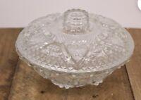 Kig Indonesia Candy Bowl With Lid vintage clear glass heart & Fleur De Lis Desig