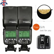 UK 2*Godox TT685C 2.4G TTL Flash+X1T-C Transmitter for Canon+Free Reflector Kit