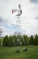 30 Ft Tall Hand Made in the USA Aluminum Garden Windmill, Wind Wheel