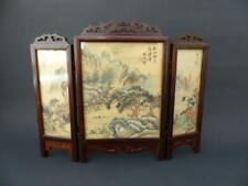 Vintage Three Panel Chinese Table Divider / Screen - Hand Painted Scenes On Silk