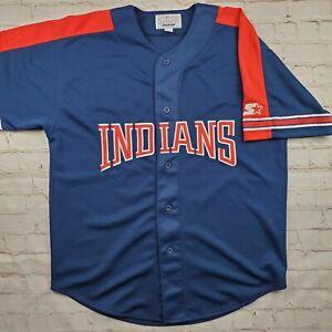 Vintage CLEVELAND INDIANS Starter JERSEY Shirt Mens L Large Baseball MLB 90s