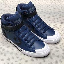 Converse Pro Blaze Strap Leather Hi Top Sneaker Youth Slip On Navy Shoe