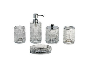 Bathroom Accessory Set Cut Glass Crystal Soap Dispenser Tumbler Storage Elegance