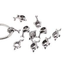 dolphin tibetan Silver European charms alloy bead fit Bracelets 10pcs 5mm hole