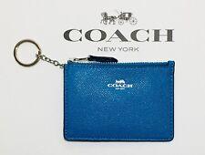 NEW COACH Wallet Coin Purse ID MINI SKINNY Leather Bright Blue Key Chain F12186