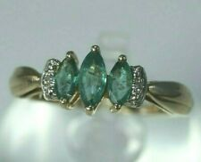 UNIQUE 10K Yellow Gold .50ctw Marquise Emerald & Diamond Ring ring, Size 5