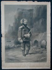 DR. KANE AT GRAVES OF SIR JOHN FRANKLIN'S MEN Antique Engraving NEW YORK ALBION