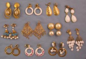 Vtg Big Bold 80s Mod Clip Earrings Pearls Gold Enameled Dangle Trifari Lot