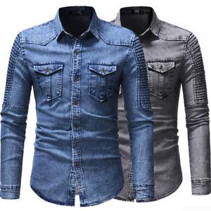 New Mens Denim Shirts Long Sleeves Slim Fit Two Pockets Washed Casual Shirts Top