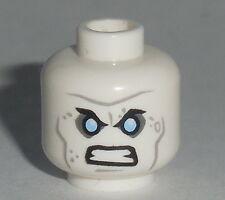 HEAD MF023 Lego Male Angry Eyebrows Blue Eyes Wrinkles NEW Batman Freeze White