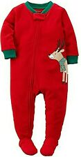 Carter's Baby Boys' 1-Piece Fleece Christmas PJs (12 Months, Red Reindeer)