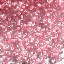 Perles de Rocailles en verre Transparent 2mm Centre Rose 20g (12/0)
