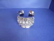 Diamante and Chain Details New Silver Metal Bangle with