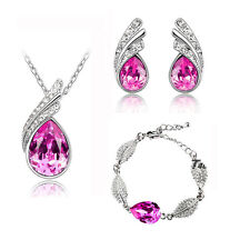 Rose Pink Elegant Jewellery Set Crystal Studs Earrings, Bracelet & Necklace S270