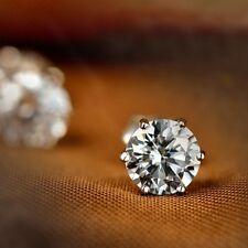 Silver Plated Rhinestone Crystal Stud Earrings.925 Sterling  4mm Wide