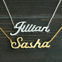 Custom Name Engraved Necklace - Personalised Pendant Silver Stainless Steel Gold