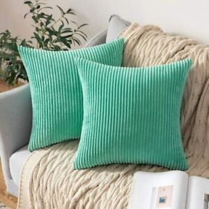 "MIULEE Throw Pillow Covers 19""x19"" Aqua Green Corduroy Soft Square Set of 2"
