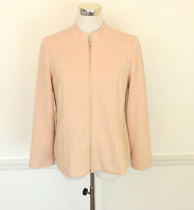 Chico's 1 Blush Pink Blazer Jacket Gold Tone Zipper 8 M Career To Cocktails NEW