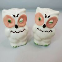 Vintage Shawnee Pottery Winking Eye Owls Pair Salt Pepper Shakers USA
