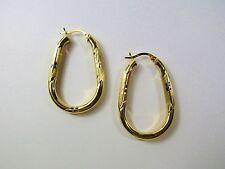 BIG 14K 14KT YELLOW GOLD 40mm x 26mm Teardrop Hoops 4MM Wide Earrings 3.8 Grams