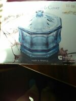 Vintage pastel blue Indiana Glass Company Octagon candy dish new in box