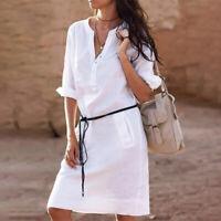 Half Sleeve Women's V-neck Short Shirt Dress Cotton linen Casual Comfortable