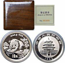 1995 China 10 Yuan Proof Silver Panda Sealed With Box And COA