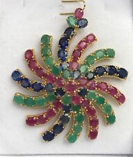 14k Solid Yellow Gold Big Flower Cluster Pendant, Mix Ruby Sapphire Emerald 40CT