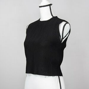 Alexander McQueen Womens Ribbed Knit Sleeveless Crop Sweater Vest Black Size L