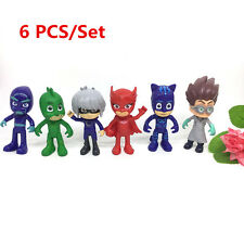 6PCS Pj Masks Characters Catboy Owlette Gekko Cloak Action Figure Kid Toys New