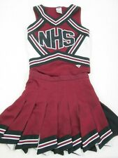 """HS EAGLES Cheerleader Uniform Outfit Costumes Sizes 34-36"""" Top 25-28"""" Fly Skirt"""