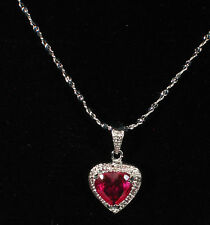925 Sterling Silver Ruby Gemstone Heart Pendant  Necklace / Great as a Gift