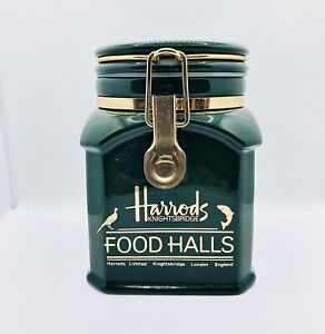 Harrods Food Halls Knightsbridge Green & Gold Coffee Storage Jar