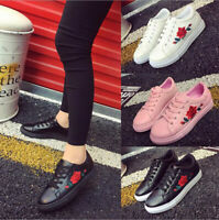 New Women's Embroidered Flat LadiesLace Up Leather Sport Sneakers Athletic Shoes