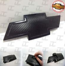 (1) Silverado Carbon Fiber Universal Chevy Bowtie Vinyl Sheets Emblem Overlay