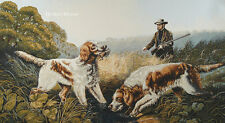 """41"""" WALL JACQ. WOVEN TAPESTRY Hunting w/ Dogs LANDSCAPE ANIMAL EUROPEAN PICTURE"""
