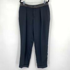 Rag & Bone Crop Leather Waistband Cuffed Pleated Dress Pants Black Womens Size 6