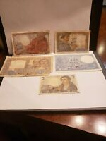 France Old 5 notes 5,10 &20 Francs  (VG to XF )worth $80