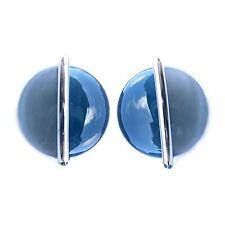 NEU 24mm OHRCLIPS mit CAT EYE STEINE Blau/Grau/Silber OHRRINGE Ohrclipse