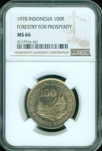 """1978 INDONESIA 100 RUPIAH """"FORESTRY FOR PROSPERITY"""" NGC MS66 UNC 3 GRADED HIGHER"""